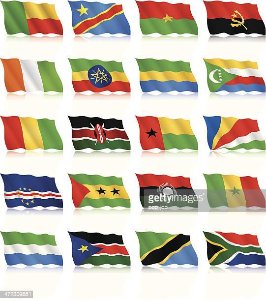 waving flags collection - africa - ethiopia stock illustrations, clip art, cartoons, & icons
