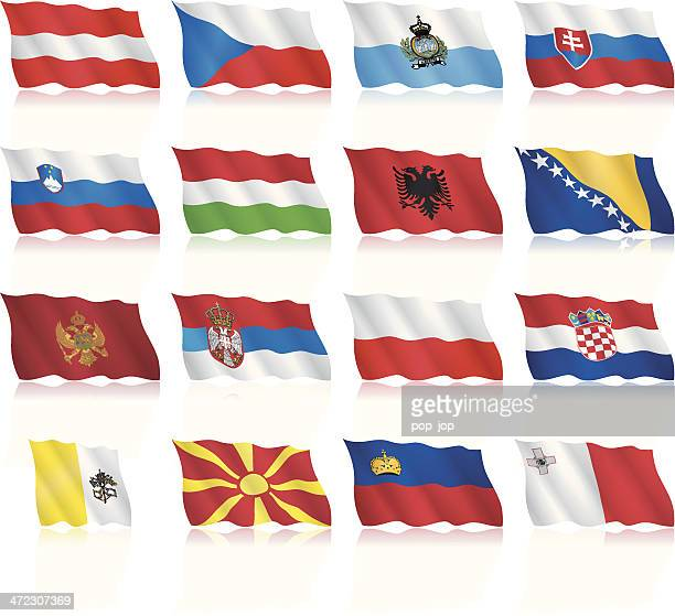 waving flags of central and southern europe - croatian flag stock illustrations, clip art, cartoons, & icons