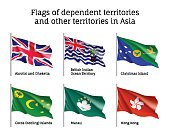 Waving flags of dependent territories