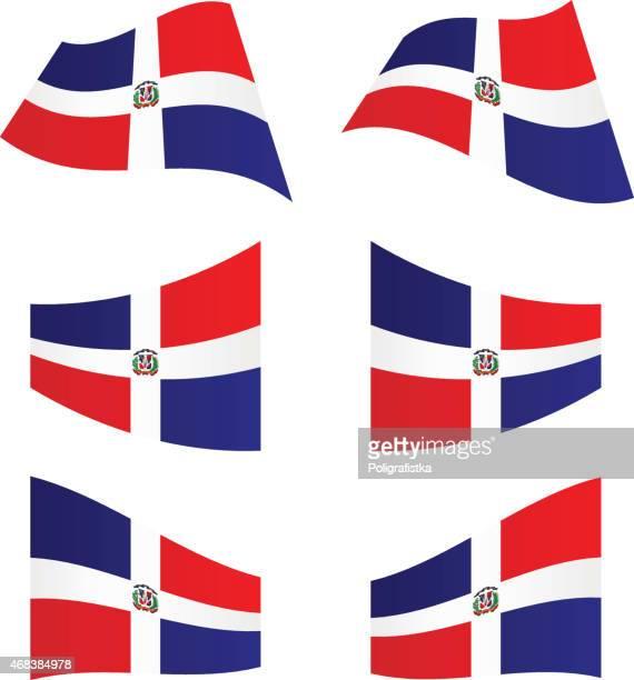 waving flags of dominican republic - dominican republic flag stock illustrations
