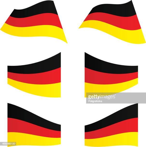 waving flags in deutschland - deutsche flagge stock-grafiken, -clipart, -cartoons und -symbole