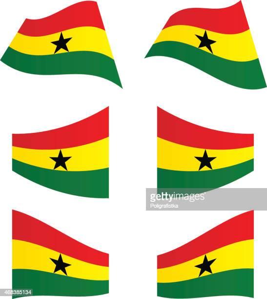 waving flags of ghana - ghana flag stock illustrations, clip art, cartoons, & icons