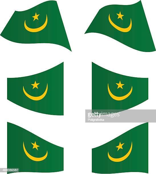 Waving flags of Mauritania