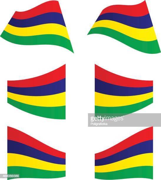 ilustrações, clipart, desenhos animados e ícones de agitando bandeiras de maurício - ilhas maurício