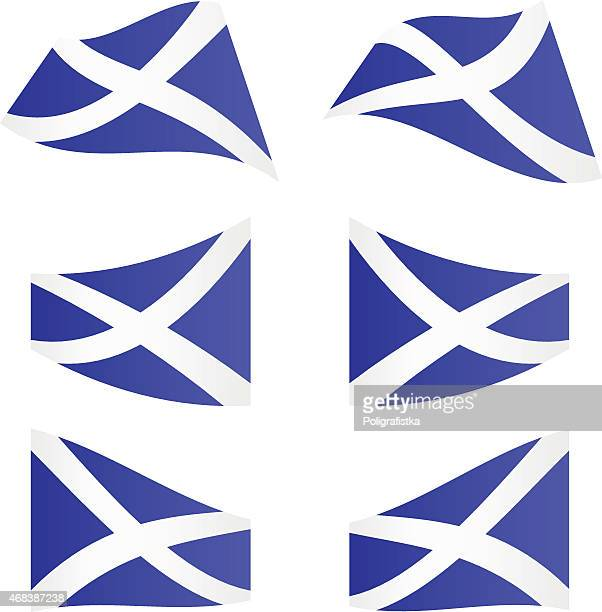 Waving flags of Scotland