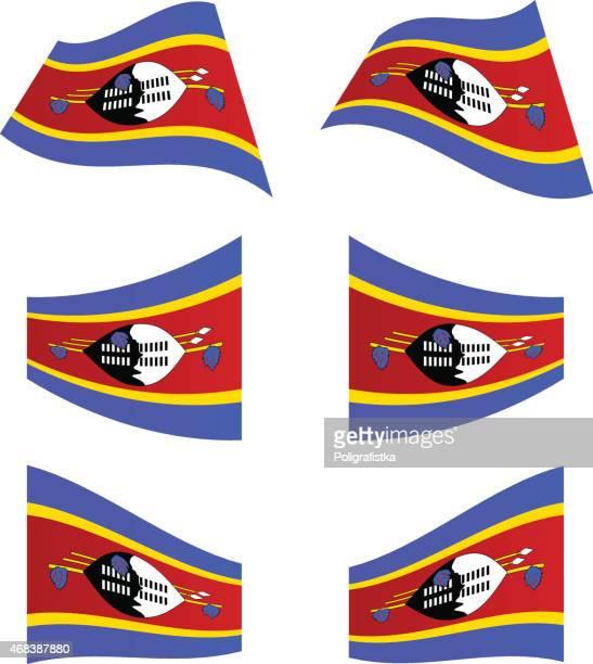waving flags of swaziland - eswatini stock illustrations, clip art, cartoons, & icons