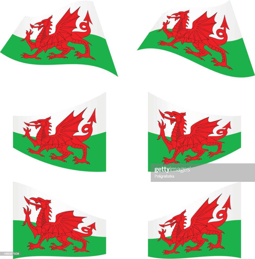 Waving flags of Wales