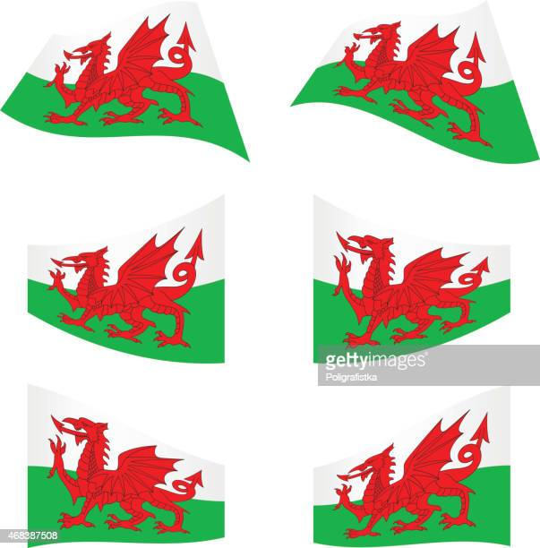 waving flags of wales - welsh flag stock illustrations