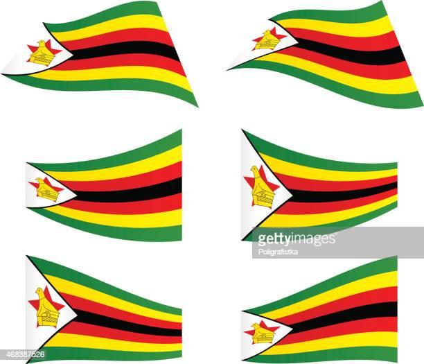 waving flags of zimbabwe - zimbabwe stock illustrations, clip art, cartoons, & icons