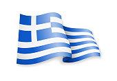 Waving Greece flag on white background.
