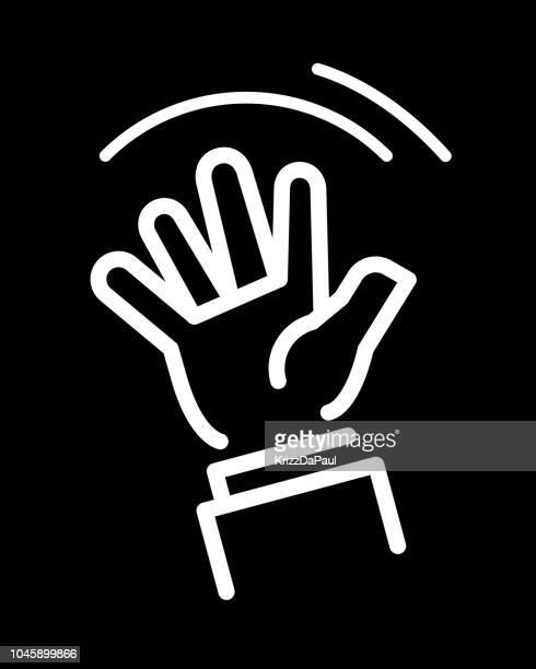 waving hand - waving stock illustrations