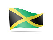 Waving Jamaica flag in the wind.