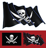 Waving Jolly Roger of Calico Jack
