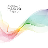 Waving pattern in spectral hues, veil, scarf imitation. Elegant rainbow wavy background with textured effect. Vector line art multicolored design element. Square abstract modern template for creative concepts. EPS10 illustration