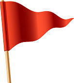 Waving red triangular flag