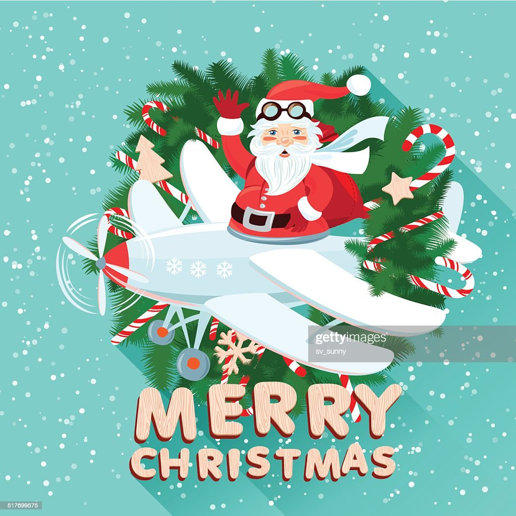 Waving Santa Claus on the plane iside the Christmas wreath