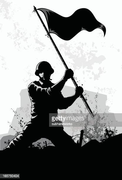 waving the flag - army stock illustrations