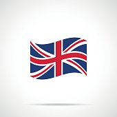 Waving United Kingdom flag icon. Premium quality fluttering UK flag. Accurate official color scheme. Vector icon