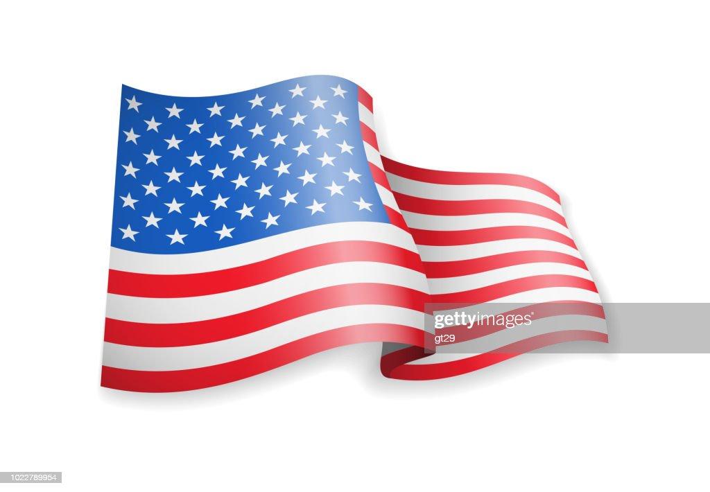 Waving USA flag on white background.