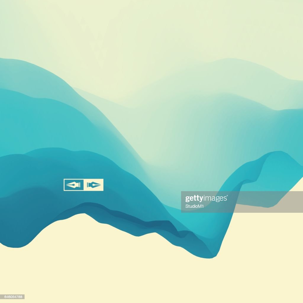 3D Wavy Background. Dynamic Effect. Abstract Vector Illustration.