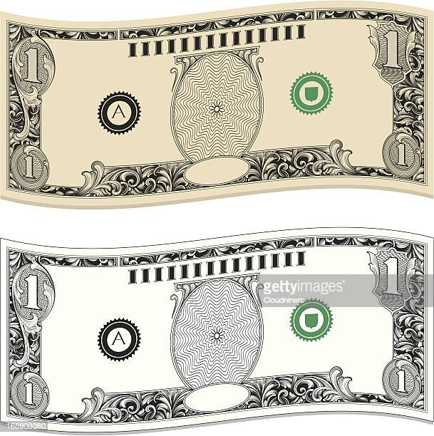 wavy dollar bills - american one dollar bill stock illustrations, clip art, cartoons, & icons