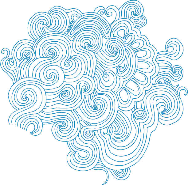 wavy doodle isolated on white - swirl stock illustrations