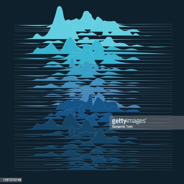 stockillustraties, clipart, cartoons en iconen met golvende moderne abstracte geometrische golfvormachtergrond - oscilloscoop