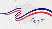 Wavy national flag and radial dotted halftone map of France