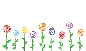 Wax crayon kid`s drawn red roses isolated on white. Child`s drawn pastel chalk blooming flowers set. Cute of kid`s painting summer flowering meadow.