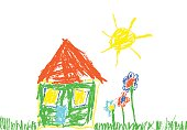 Wax crayon like child`s hand drawn house, grass, colorful flowers and sun.