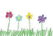 Wax crayon like kid`s hand drawn colorful flowers with green grass.