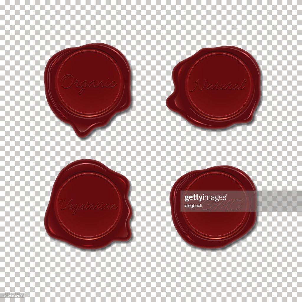 Wax seal set on transparent background. Vector design element. Isolated wax stamps. Organic, natural, vegetarian and No GMO wax stamps.