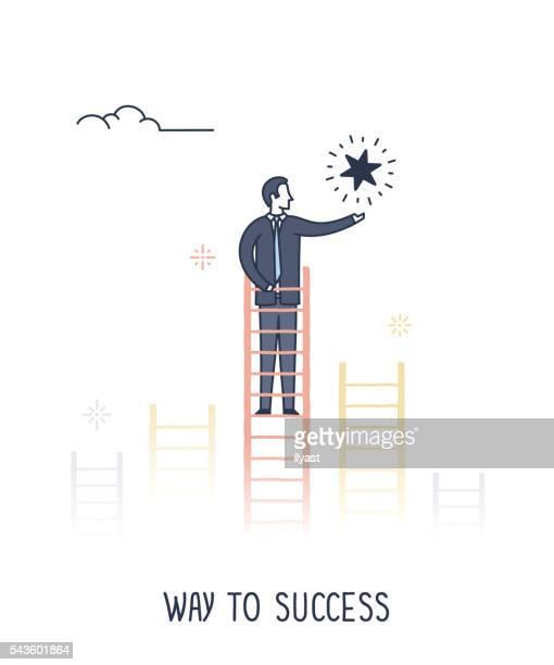 illustrations, cliparts, dessins animés et icônes de chemin de la réussite - profession supérieure ou intermédiaire