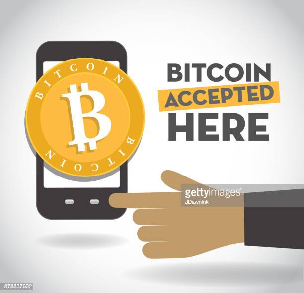 we accept bitcoin sign with smartphone and human hand - receiving stock illustrations