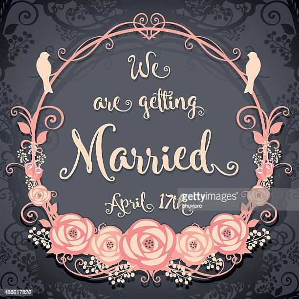We are getting married. Floral card on a gray background