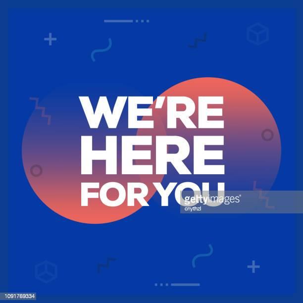 wir sind hier für sie. inspirierende kreative motivation poster angebotsvorlage. typografie vektor - illustration - maschinenschrift stock-grafiken, -clipart, -cartoons und -symbole