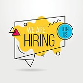 We are hiring banner design concept. Business hiring and recruiting template.