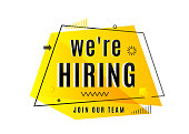 We are hiring concept. Job vacancy advertisement geometric banner