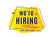 We are hiring concept. Job vacancy advertisement geometric banner
