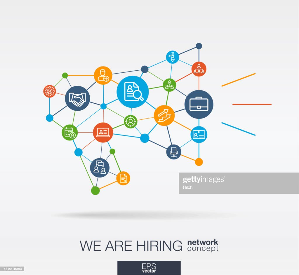 We are hiring, Job search integrated thin line icons in megaphone message shape. Digital neural network concept.