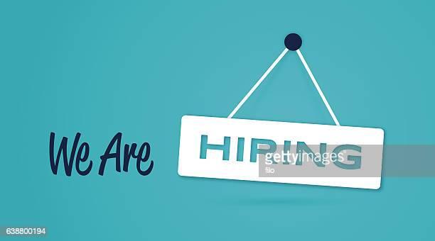 stockillustraties, clipart, cartoons en iconen met we are hiring sign - chance