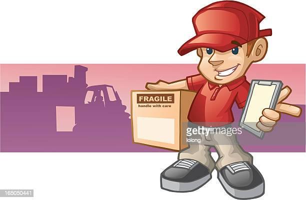 ilustrações, clipart, desenhos animados e ícones de nós oferecemos - entregador
