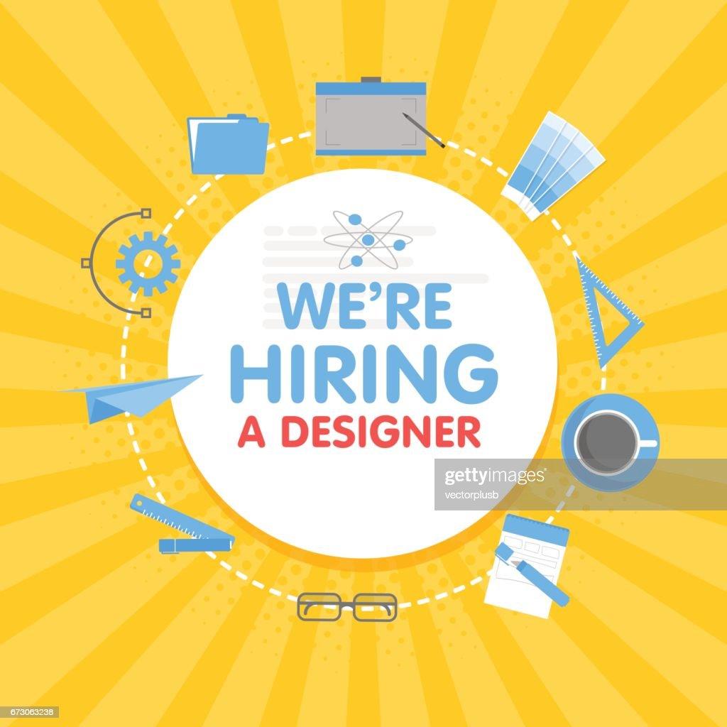 We hire a designer. Megaphone concept vector illustration.