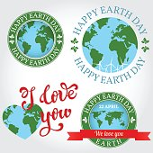 We love you Earth badge, label, logo, greeting Card.