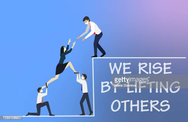 we rise by lifting others concept. - selfless stock illustrations