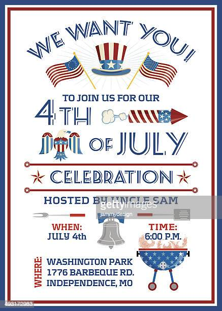 we want you 4th of july celebration - liberty bell stock illustrations