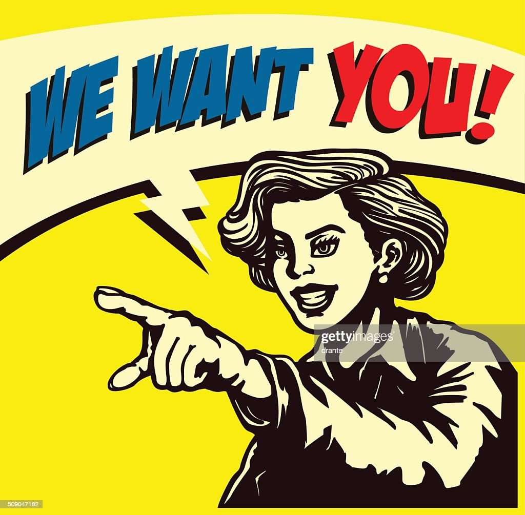 We want you! Retro woman pointing finger vector illustration