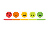 We want your feedback. Badge, stamp with happy and unhappy faces icons. .