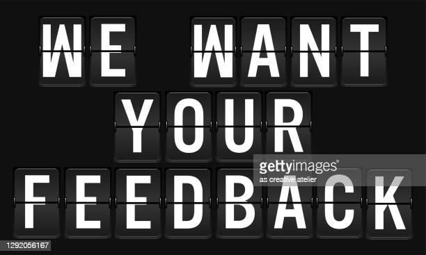 stockillustraties, clipart, cartoons en iconen met we willen uw feedback geschreven airport billboard op zwarte achtergrond - feedback