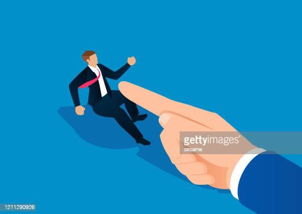 weak businessman blamed by huge finger - revenge stock illustrations
